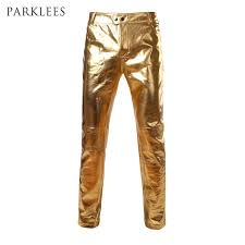 2019 motorcycle pu leather pants mens brand skinny shinny gold silver black pants trousers nightclub stage for singers rs from chivalife