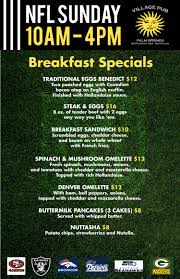 specials menu sunday nfl specials menu breakfast drink specials village pub