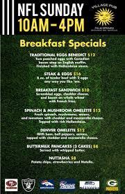 specials menu sunday nfl specials menu breakfast drink specials village pub