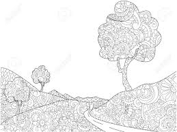 landscape coloring book for s raster stock photo 88633594