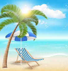 Beach With Palm Clouds Sun Beach Umbrella And Beach Chair. Summer.. Stock Photo, Picture And Royalty Free Image. Image 43531542.