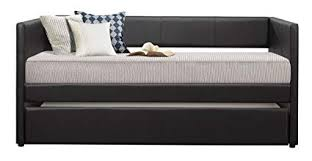 upholstered day bed. Modren Upholstered Homelegance Adra Fully Upholstered Daybed With Roll Out Trundle Bicast  Vinyl Twin Black In Day Bed