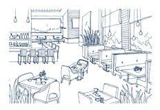 fancy couch drawing. Freehand Sketch Of Furnished Interior Fancy Restaurant Or Bistro Hand Drawn With Contour Lines On Couch Drawing