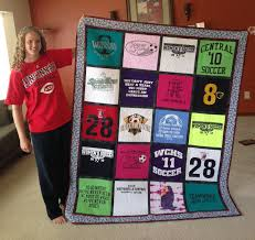 Shae's T-shirt quilt | Seams to be you and me & Shea-with-quilt Adamdwight.com