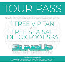 bring this coupon to any sunsup tanning center and start enjoying the positive effects of the sun