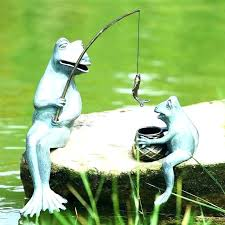metal frog garden ornaments art fishing mama and baby statue recycled yoga frog garden statue