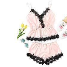Womens <b>Sleepwear Sexy Satin</b> Sling <b>Sleepwear</b> Lingerie Lace ...