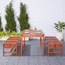 malibu outdoor 3 piece wood patio