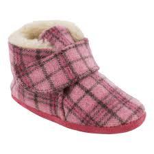 Infant Minnetonka Sawyer Bootie Size 1 M Pink Plaid Flannel