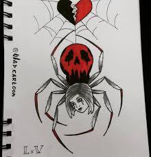 Lxv Tattoo Sketch Spider Love Skull Girl паук эскиз