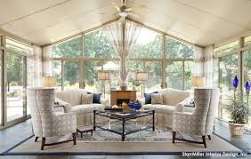 Amazing Warm Cream Sunroom Interior Design With Great Seating And Fireplace Decor  Ideas Sunroom Living Room