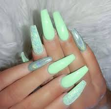 Nail Designs With Mint Color Pin By Erykah Warren On Nails Coffin Nails Long Cute