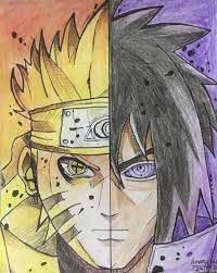Naruto and Sasuke (art) | Naruto drawings, Trippy pictures, Naruto eyes