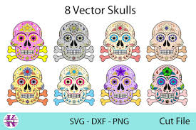 Find quotes, fonts and a wide range of design elements, svg eps dxf png ttf otf. 8 Vector Skulls Svg Dxf Png Graphic By Karen J Creative Fabrica Svg Png Graphic Illustration