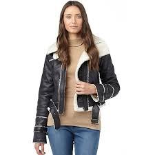 brave soul womens borg er jacket black cream