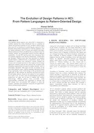 Pattern Oriented Design Pdf The Evolution Of Design Patterns In Hci From Pattern