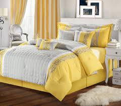 image of yellow and grey king size bedding sets