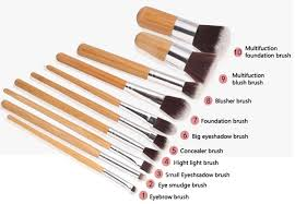 11 pcs bamboo handle makeup eyeshadow blush concealer brush set