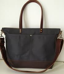 modern coup waxed canvas leather custom utility tote diaper bag