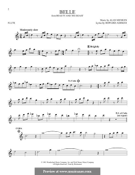 beauty and the beast sheet music belle from beauty and the beast by a menken sheet music on