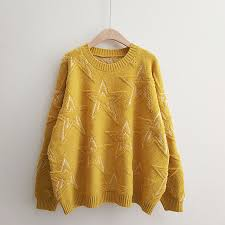 H.SA <b>2018 Winter New Women</b> Pullover and Sweaters Oneck Stars ...