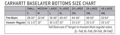 32 Degrees Heat Base Layer Size Chart Carhartt Mens Force Midweight Classic Thermal Base Layer Pant