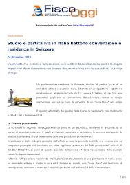 Studio e partita Iva in Italia battono convenzione e residenza in Svizzera