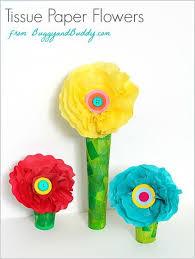 Paper Flower Crafts For Kindergarten Tissue Paper And Cardboard Tube Flower Craft Simple Kids Craft