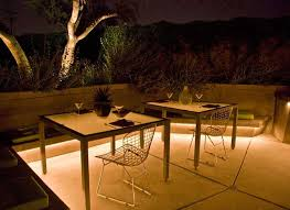 under bench lighting. Wall Lights Placed Under Bench Overhang Add Atmosphere While Subtly Illuminating Patio Floor. Photo Courtesy Of Realm Environments. Lighting N