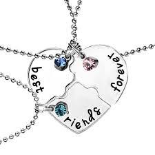 details about 3 part best es f broken heart best friends forever chain pendant necklace