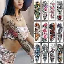 Large Arm sleeve Tattoo Waterproof temporary tattoo Sticker <b>Skull</b> ...