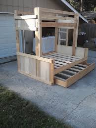 picture of diy bunk bed set with stairs cubbie shelves and of course