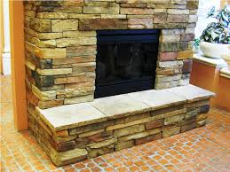 image of stacked stone wall tile fireplace