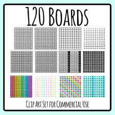 120 Boards One Hundred And Twenty Charts Clip Art Set Commercial Use