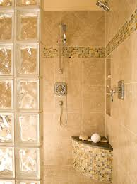 Interesting Photos Of Glass Block Showers : Bench In Shower With Small Tile  And Arched Glass