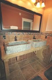 rustic half bathroom ideas. Bathroom Ideas: Rustic Double Sink Vanity Under Framed With  Clever Design Ideas Rustic Half Bathroom Ideas