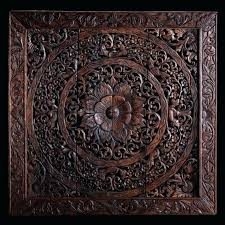 whitewashed carved wood wall decor panel interior blues home brown