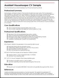 Examples Of Professional Skills Assistant Housekeeper Cv Sample Myperfectcv