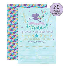 Birthday Invitation Party Your Main Event Prints Mermaid Birthday Invitations 20 Fill In Mermaid Party Invitations With Envelopes