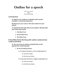 Template For A Speech Speech Outline Templates Speech Outline Speech Writing