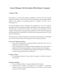 Bank Manager Job Description Sample Job Description General Manager