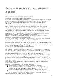 Pedagogia sociale e diritti dei bambini a scuola - Docsity