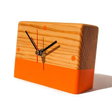 orange desk clock reclaimed wood clock hand painted clock wooden table clock handmade modern clock eco friendly gift wood desktop
