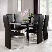 tempo 160cm glass top dining table with 6 chairs