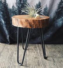 Camp Hunt | camphunt.co | Chicago Reclaimed, salvaged wood stump table with  metal