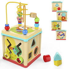 Amazon.com: TOP BRIGHT Activity Cube Toys Baby Educational Wooden ...