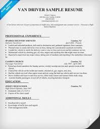 Van Driver Resume Sample Resumecompanion Com Resume Samples