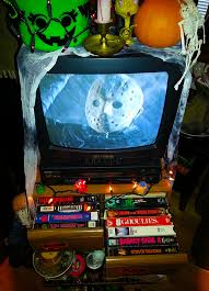 tv vcr combo new. the tv/vcr combo is obvious highlight. using one of those old woodgrain vhs storage drawers, my mood table provides easy access to tons horror movie tv vcr new