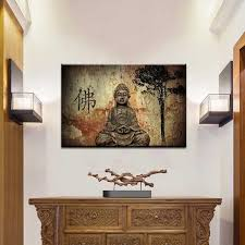 Traditional Brown Buddha Painting Prints on Canvas Classical Figures Wall  Art Picture For Living Room Decor