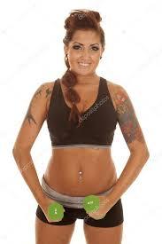 žena Tetování Fitness Zelená Váha Stock Fotografie Alanpoulson